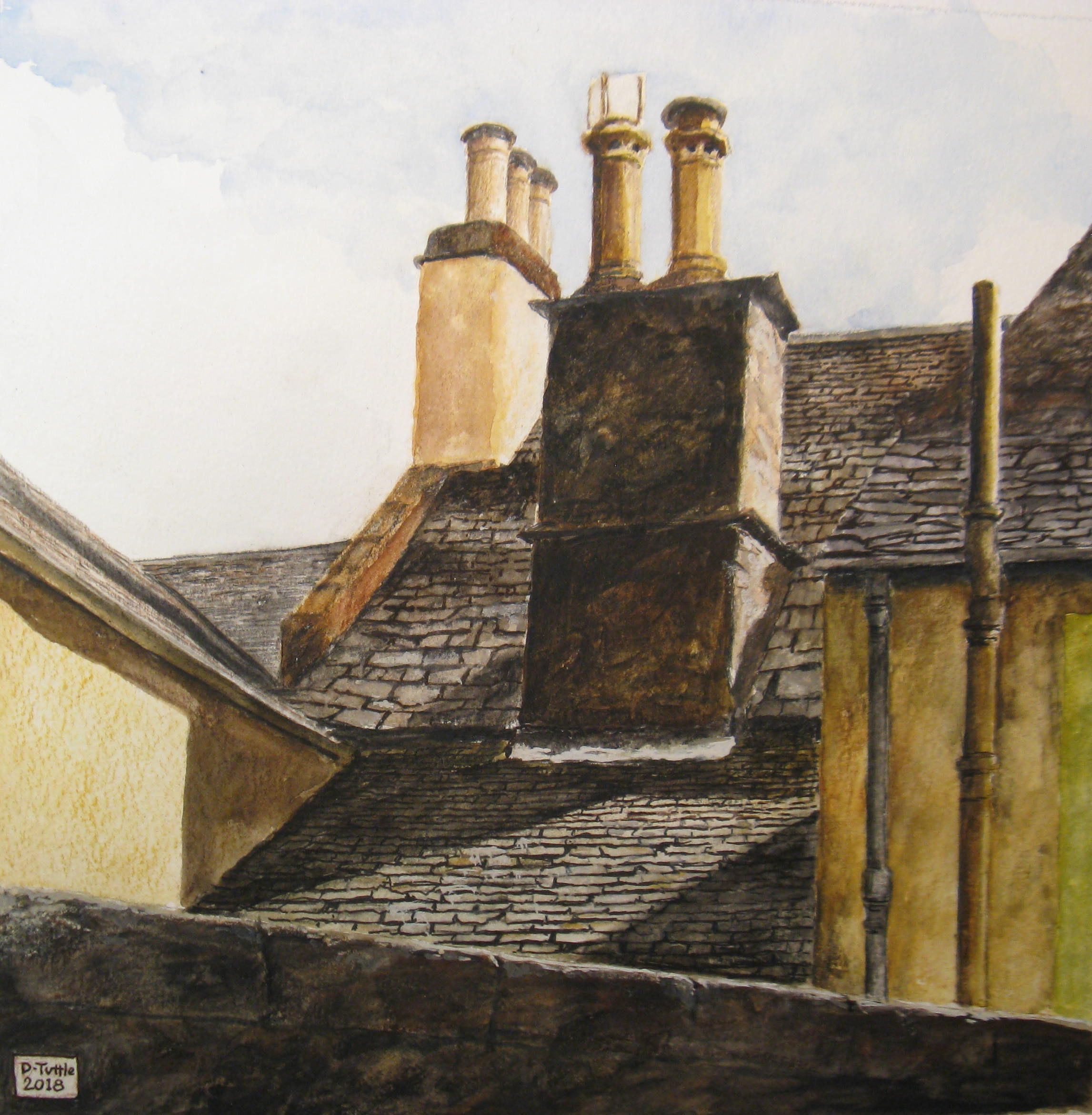 Roofs of Dunkeld, watercolor